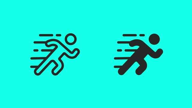 running icons - vector animate - people icon video stock e b–roll