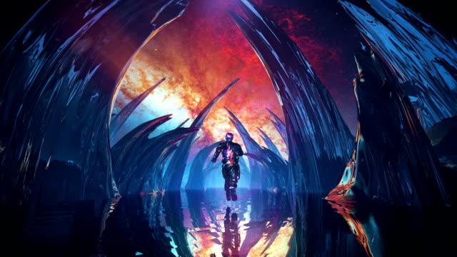 vidéos et rushes de exécution dans le tunnel futuriste d'espace - imagination