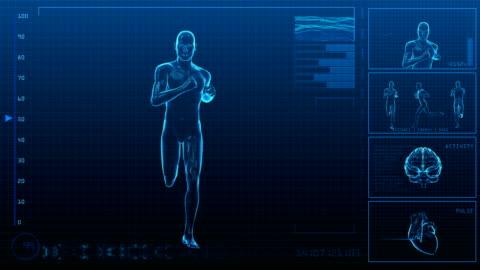 vídeos de stock e filmes b-roll de homem a correrstencils/interface digital/loopable - corpo humano