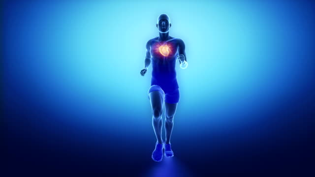 Running man heart scan in slow motion video