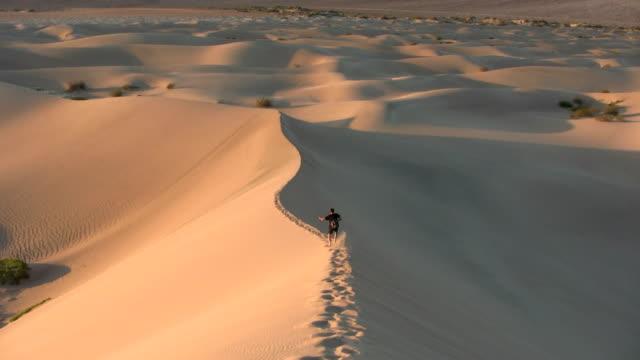 vídeos de stock e filmes b-roll de hd: executar uma duna de areia - parque nacional do vale da morte