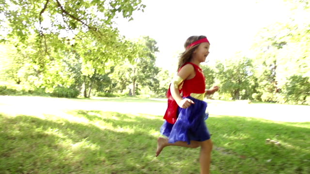 Running superhero girl video