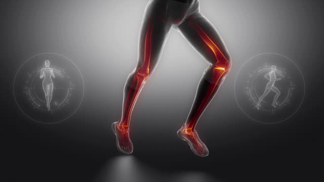 Running woman focused on leg bones video