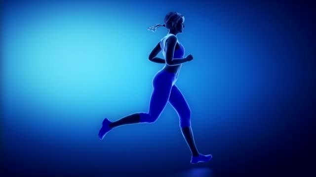 Running woman skeleton scan Healthy lifestyle concept human joint stock videos & royalty-free footage