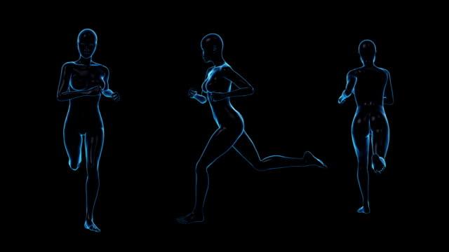 running woman | three view | loopable - kroppsdel bildbanksvideor och videomaterial från bakom kulisserna