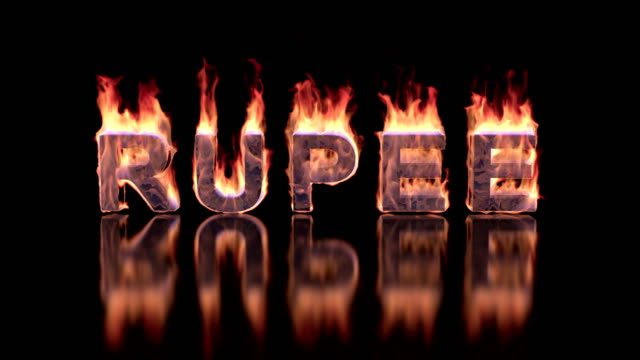 rupee word burning in flames on the glossy surface, financial 3D illustration background video
