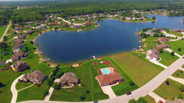 Rural Affluent Suburb on Beautiful Man-made Lake, Aerial View. video