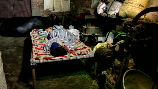 Rural children sleeping peacefully at home