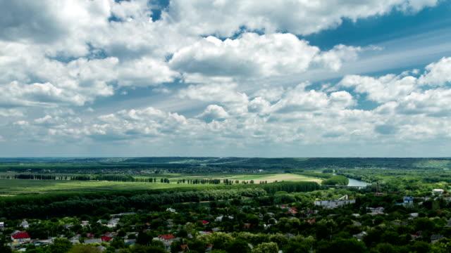 rural scene: cloudscape over valley - молдавия стоковые видео и кадры b-roll