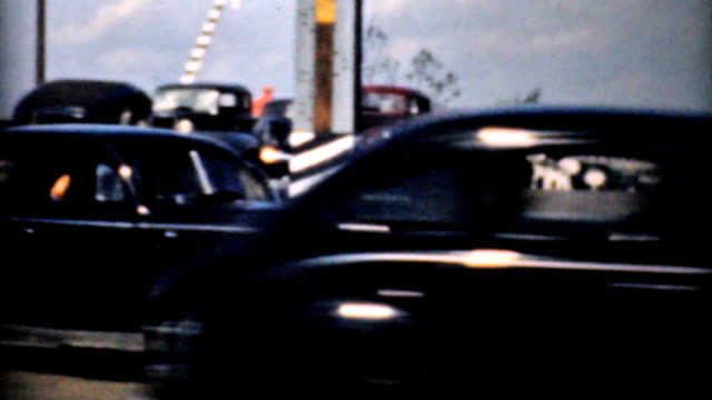 Rush Hour Traffic And New Interstate Highway-1940 Vintage 8mm film