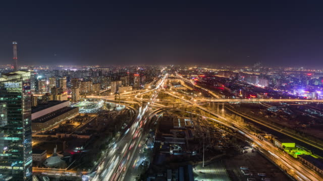 T/L WS HA TD Rush Hour Traffic on Multiple Highways and Flyovers at Night / Beijing, China video