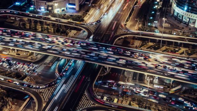 stockvideo's en b-roll-footage met t/l ha zo rush hour verkeer op meerdere snelwegen nachts / beijing, china - chaos