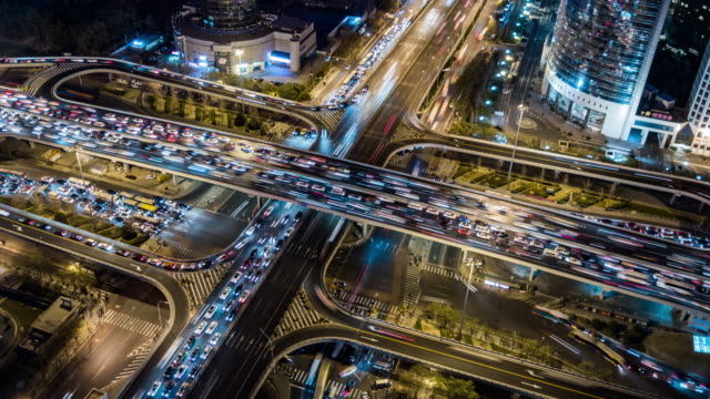 T/L WS HA Rush Hour Traffic on Multiple Highways at Night / Beijing, China video
