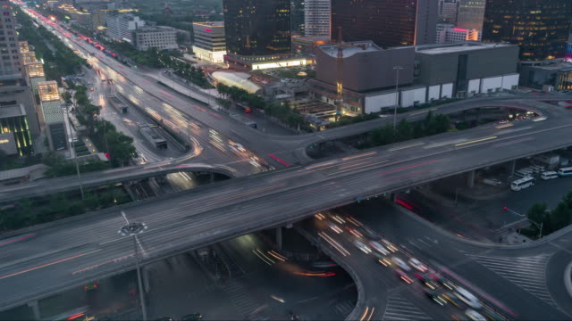 T/L WS HA PAN Rush Hour Traffic on Multiple Highways, Day to Night Transition/ Beijing, China video