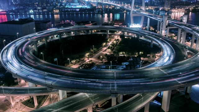 T/L PAN Rush Hour Traffic on Multiple Highways / Shanghai, China Rush Hour Traffic on Multiple Highways and Flyovers at Night / Shanghai, China cycle vehicle stock videos & royalty-free footage