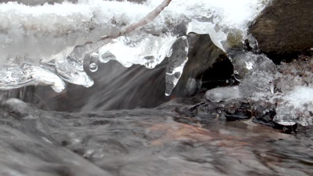冬のラッシングアイシークリーククローズアップ - 霜点の映像素材/bロール