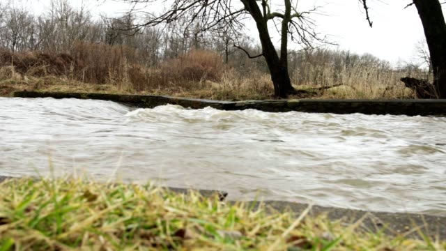 Rushing water in channel video