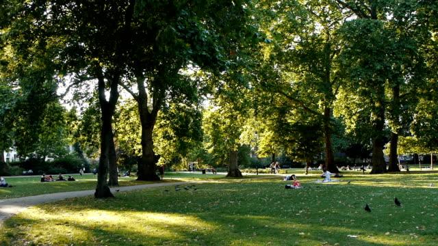 Russell Square London, Backlit Park Scene