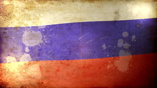 russia flag - grunge. hd - dirty money bildbanksvideor och videomaterial från bakom kulisserna