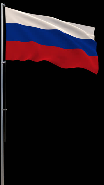 Russia flag, waving on transparent background, prores footage with alpha channel, vertical video