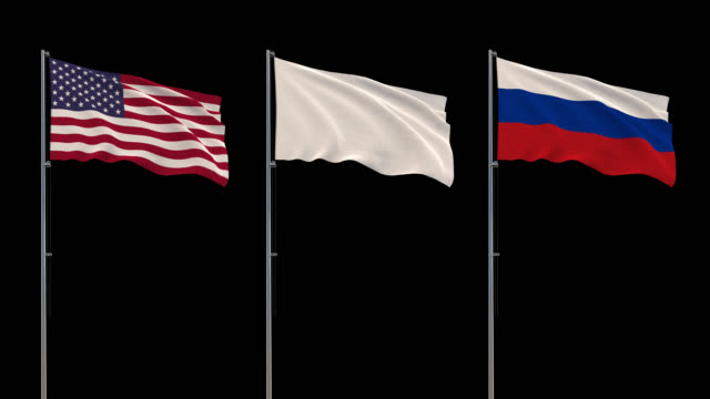 USA, Russia flags and white flag waving on transparent background, 4k footage with alpha channel