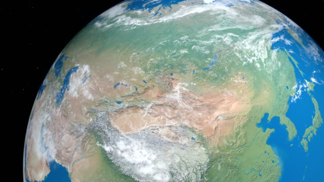 Russia in Asia continent in planet Earth, aerial view from outer space Russia in Asia continent in planet Earth, aerial view from outer space east asia stock videos & royalty-free footage