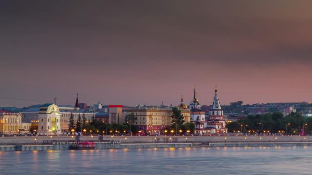 vídeos de stock e filmes b-roll de russia irkutsk city sunset bay panorama 4k time lapse siberia - irkutsk