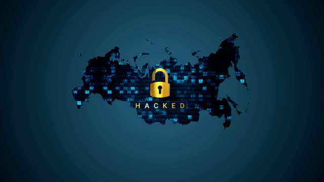 vídeos de stock, filmes e b-roll de mapa de rússia de 4k e hacking - rússia