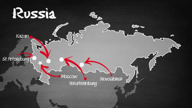 vídeos de stock e filmes b-roll de russia map - cartografia