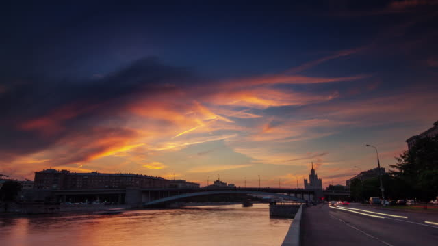 russia moscow river traffic bay sunset panorama 4k time lapse video