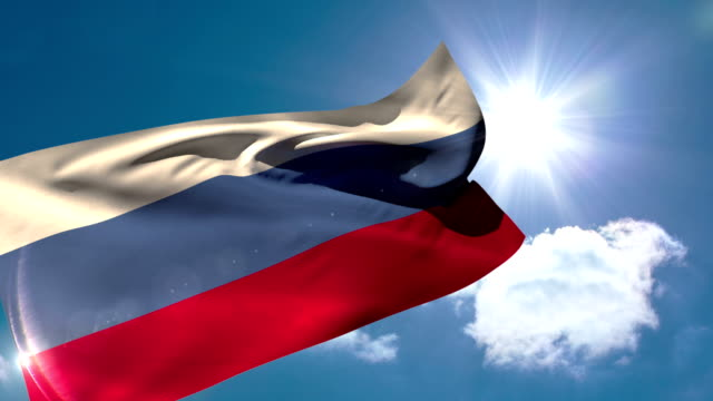 Russia national flag blowing in the breeze video
