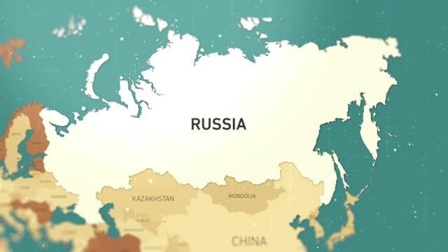 russia on world map stock video - hiroshima filmów i materiałów b-roll