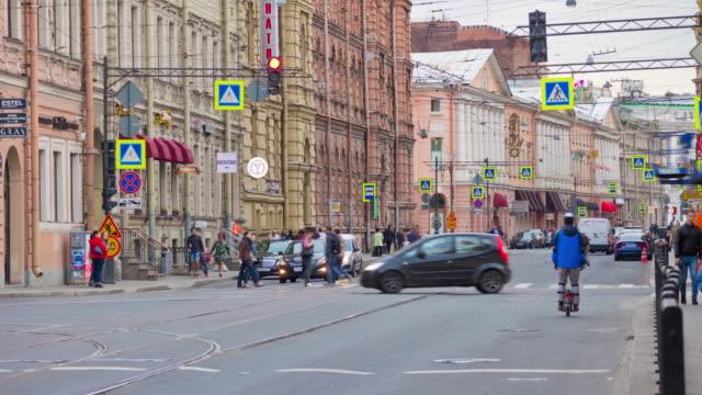 russia summer day saint petersburg tram traffic street panorama 4k time lapse video