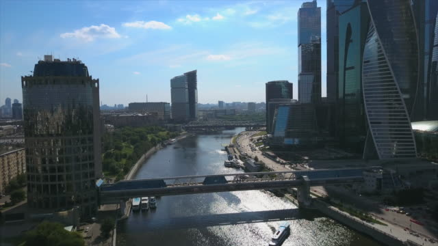 Russia Sunny Day Moscow Modern City Riverside Aerial