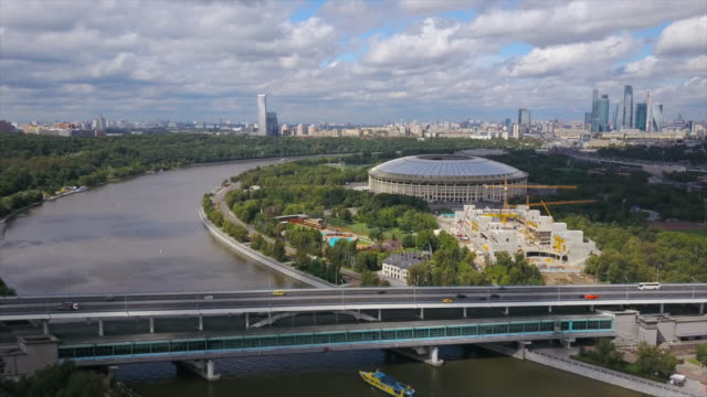 russia sunny day moscow river cityscape luzniki stadium aerial panorama 4k