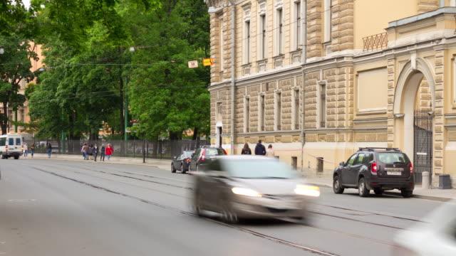 russia sunny day saint petersburg tram traffic street panorama 4k time lapse video