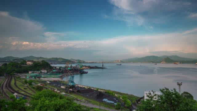 russia sunny day vladivostok industrial port panorama 4k time lapse video