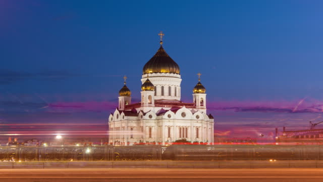 russia sunset moscow cathedral of christ the savior traffic 4k timelapse video