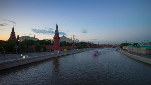 russia sunset moscow city river traffic kremlin bridge view4k timelapse video