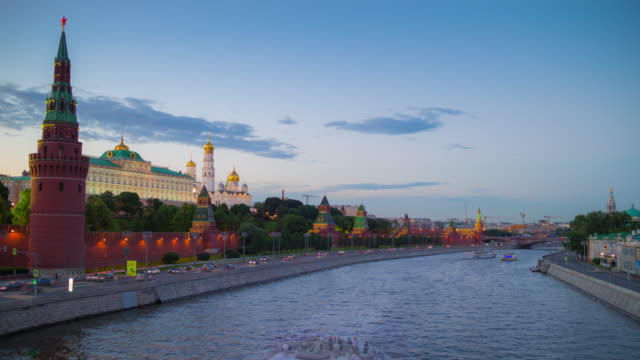 russia sunset moscow city river traffic kremlin wall bridge view 4k timelapse video