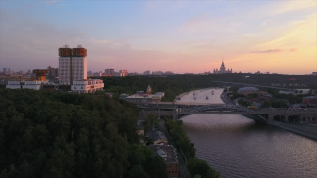 russia sunset moscow city riverside science academy university aerial panorama 4k video