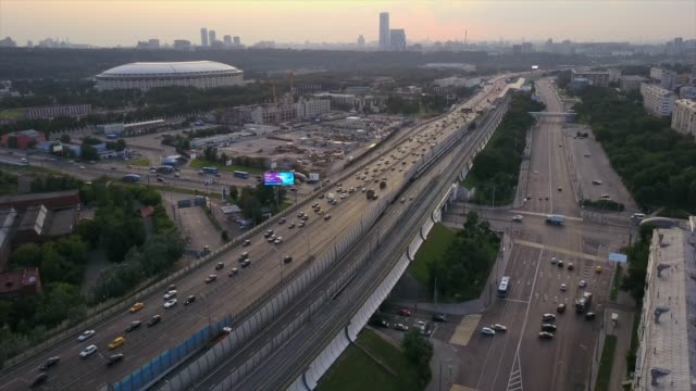 russia sunset sky moscow traffic ring luzniki stadium aerial panorama 4k