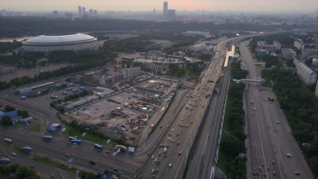 russia sunset sky moscow traffic road ring luzniki stadium construction aerial panorama 4k
