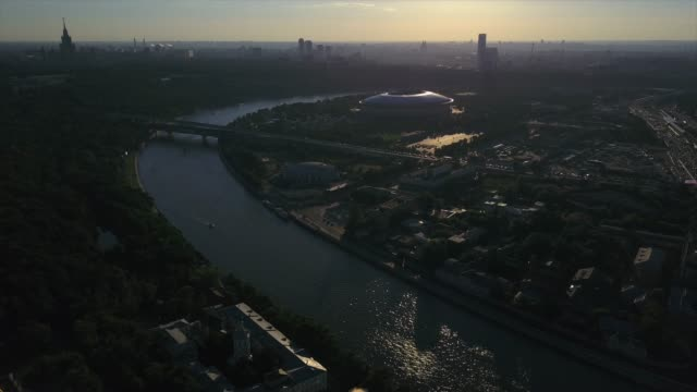 russia sunset time moscow river cityscape luzniki stadium complex aerial panorama 4k