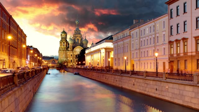 russia time lapse, st. petersburg - church saviour on spilled blood - church architecture stock videos & royalty-free footage