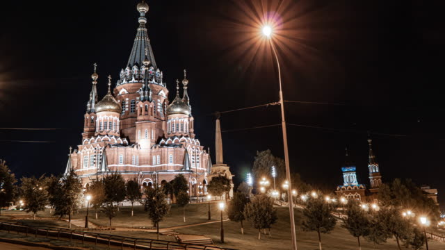 Russia, Udmurt Republic, Izhevsk, St. Michael's Cathedral, time lapse, beautiful landscape in Izhevsk
