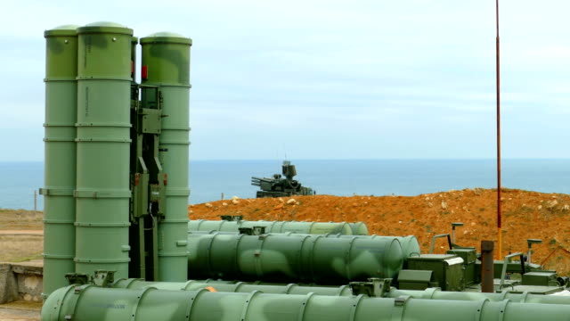 Russian anti-aircraft missile system of large and medium range on the coast Russian anti-aircraft missile system of large and medium range on the coast nuclear missile stock videos & royalty-free footage