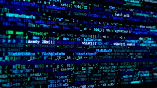 vídeos de stock e filmes b-roll de russian computer code stream - vírus informático