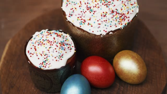 russian orthodox easter food - panettone video stock e b–roll
