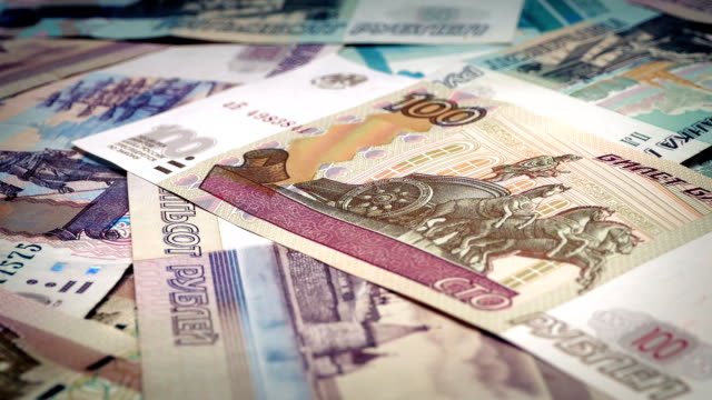 Russian Ruble Banknotes Rotating video